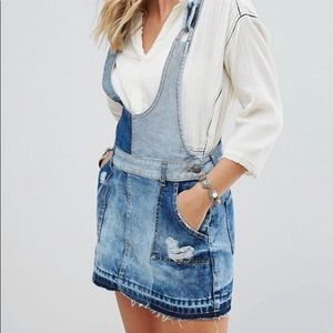 Free people patch denim overall dress NWOT size 10